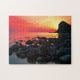 Rocky Coastal Sunset Jigsaw Puzzle