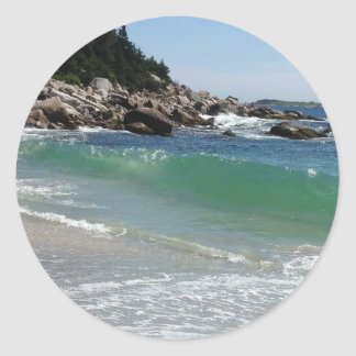 rocky coastline ocean surf classic round sticker