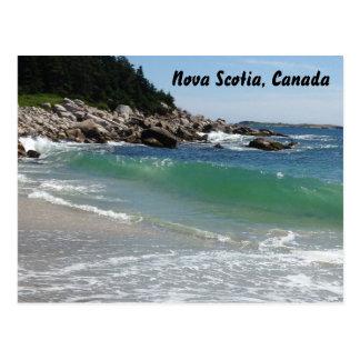 rocky coastline ocean surf postcard, nova scotia, postcard