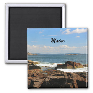 Rocky Coastline of Maine Square Magnet