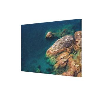 Rocky Coastline Sunbathers - Cinque Terre, Italy Canvas Print