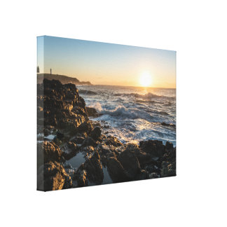 Rocky Coastline with Lighthouse Canvas Print