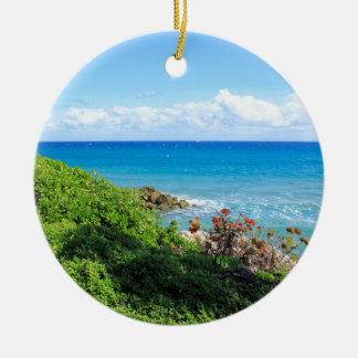 rocky-foliage-coast-deerfield-beach-4s6490 round ceramic ornament