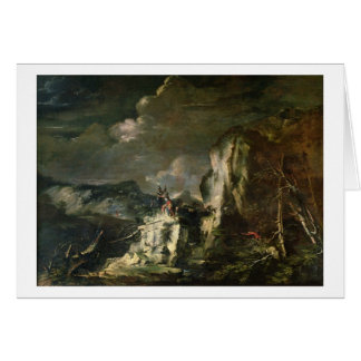 Rocky Landscape with a Huntsman and Warriors (oil Card