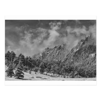 Rocky Mountain Dusting Of Snow Boulder Colorado BW Postcard