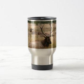 Rocky Mountain Elk in the Grass Travel Mug