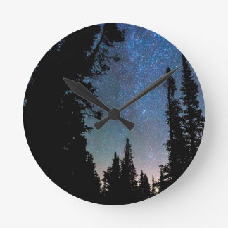 Rocky Mountain Forest Night Clock