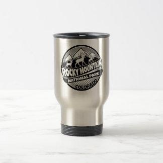 Rocky Mountain Park Colorado black logo steel mug