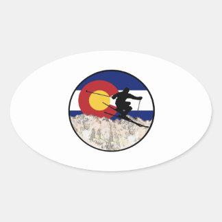 Rocky Mountain Pass Oval Sticker