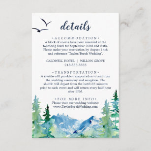 Rocky Mountain Wedding Details Enclosure Card