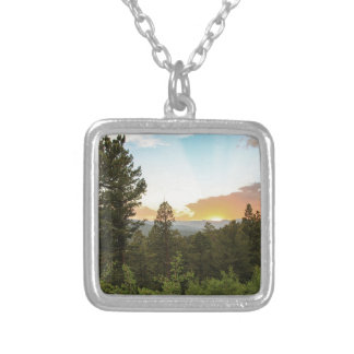 Rocky Mountains Sunset Silver Plated Necklace