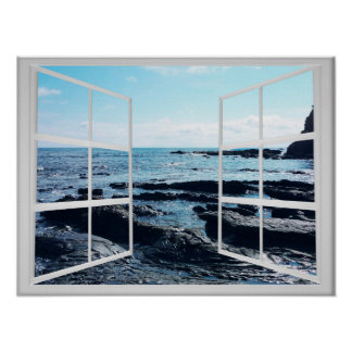 Rocky Ocean Coast with Window Frame Poster