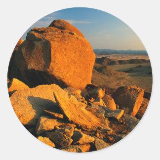 Rocky Outcrop And Desert Valley, Richtersveld Round Sticker