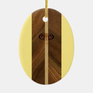 Rocky Point Hawaiian Faux Wood Surfboard Ceramic Ornament