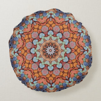 Rocky Roads  Kaleidoscope Pattern Round Pillow