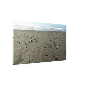 Rocky Sandy Beach Stretched Canvas Print