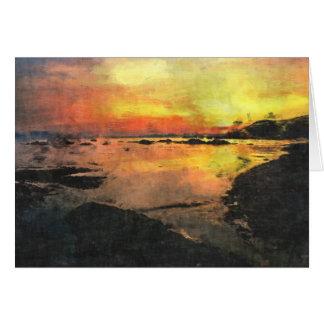 Rocky Shore Sunset Card