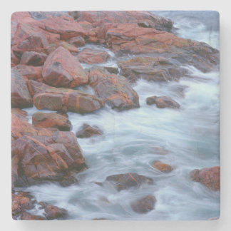 Rocky shoreline with water, Canada Stone Coaster