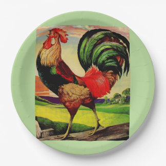 Rocky the Handsome Rooster Paper Plate