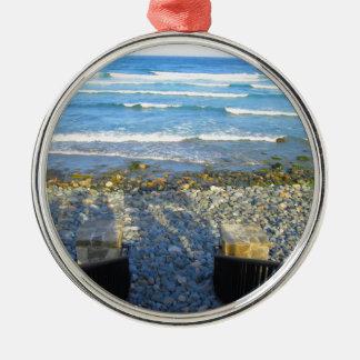 Rocky York Beach Access Silver-Colored Round Ornament