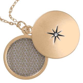 Rococo brown purple round locket necklace