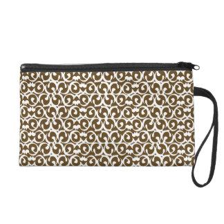 Rococo brown white wristlet purse