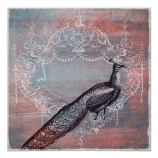 Rococo French Blue & Pink Peacock Print