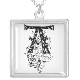 Rococo Monogram Letter A Custom Necklace