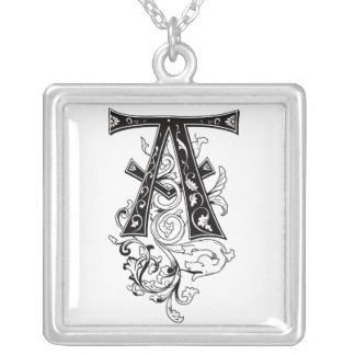 Rococo Monogram Letter A Silver Plated Necklace