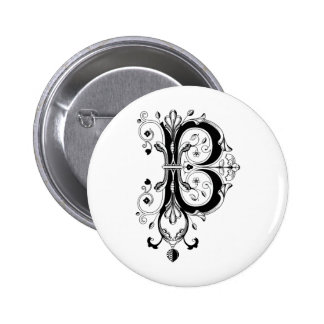 Rococo Monogram Letter B 2 Inch Round Button