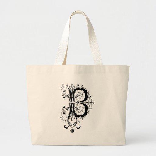 Rococo Monogram Letter B Tote Bag