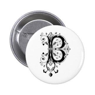 Rococo Monogram Letter B Pinback Button