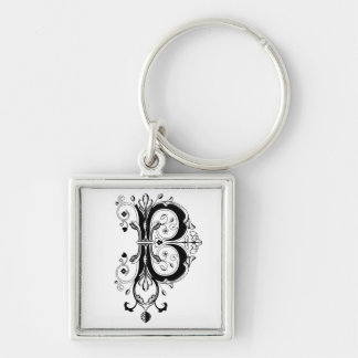 Rococo Monogram Letter B Keychain