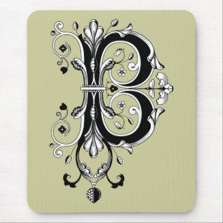 Rococo Monogram Letter B Mouse Pad