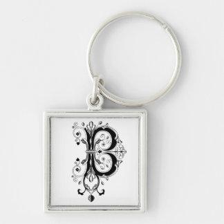 Rococo Monogram Letter B Silver-Colored Square Keychain