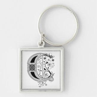 Rococo Monogram Letter C Silver-Colored Square Keychain