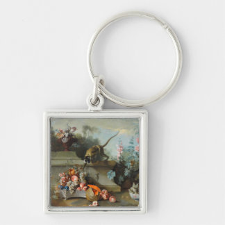 Rococo Painting for The Year of the Monkey Silver-Colored Square Keychain