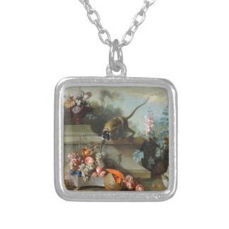 Rococo Painting for The Year of the Monkey Square Pendant Necklace