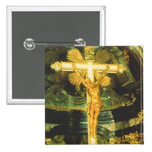 Rococo style crucifix in a Bavarian Church Pinback Button