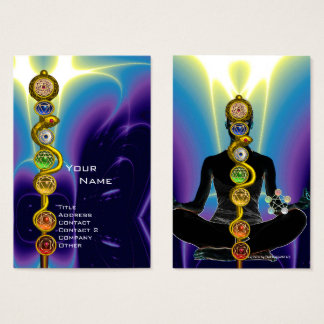 ROD OF ASCLEPIUS,7 CHAKRAS YOGA LOTUS POSE Blue Business Card