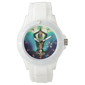 ROD OF ASCLEPIUS 7 CHAKRAS,YOGA LOTUS POSE Blue Wristwatch