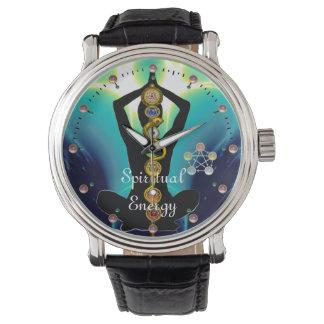 ROD OF ASCLEPIUS 7 CHAKRAS,YOGA LOTUS POSE Blue Wristwatches