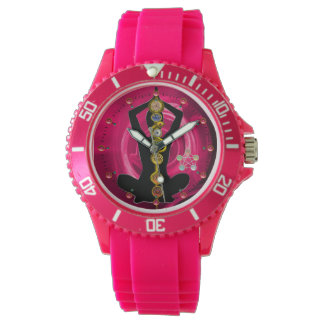 ROD OF ASCLEPIUS 7 CHAKRAS,YOGA LOTUS POSE Pink Watch