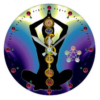 ROD OF ASCLEPIUS 7 CHAKRAS,YOGA LOTUS POSE Purple Clocks