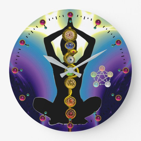 ROD OF ASCLEPIUS 7 CHAKRAS,YOGA LOTUS POSE Purple Clocks