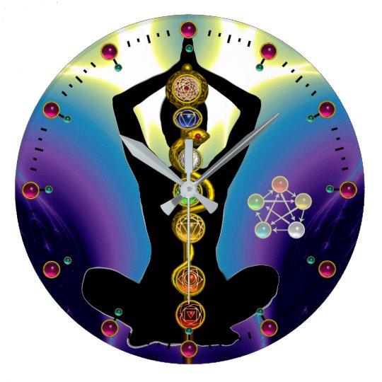ROD OF ASCLEPIUS 7 CHAKRAS,YOGA LOTUS POSE Purple Large Clock