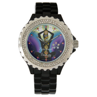 ROD OF ASCLEPIUS 7 CHAKRAS,YOGA LOTUS POSE Purple Wrist Watch