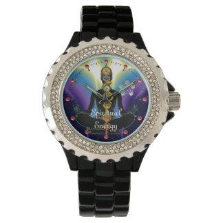 ROD OF ASCLEPIUS 7 CHAKRAS,YOGA LOTUS POSE Purple Wrist Watches