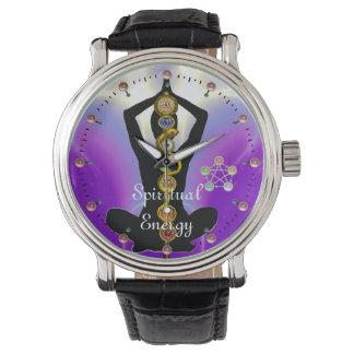 ROD OF ASCLEPIUS 7 CHAKRAS,YOGA LOTUS POSE Purple Wristwatch