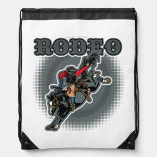 Rodeo Bareback Bronc Rider Drawstring Bag